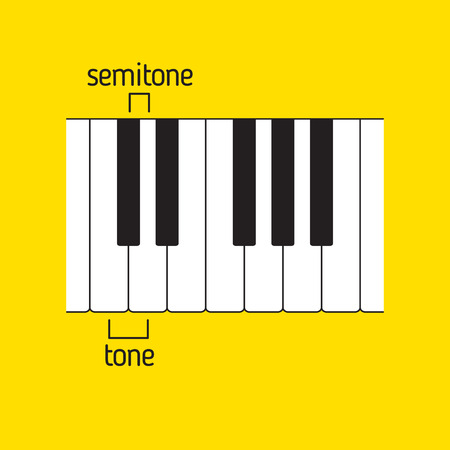 Piano keyboard top view with tone and semitone. Music theory Reklamní fotografie