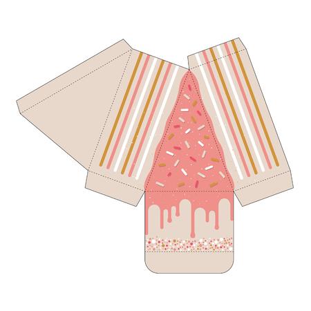 Decorated cake slice box cutout template. Favor box. Die cut Illustration