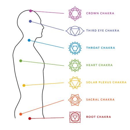 Chakra system of human body chart. Vettoriali