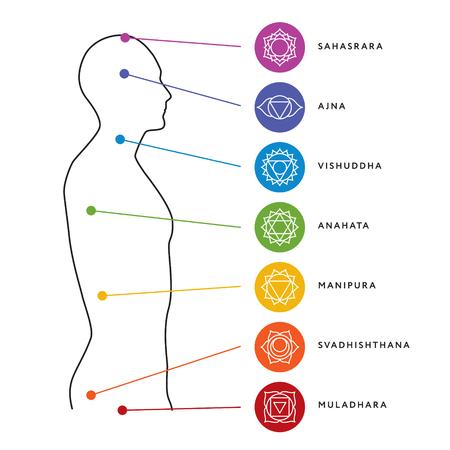Chakra system of human body chart. Çizim