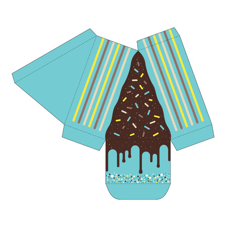 Decorated cake slice with box cutout template Illustration