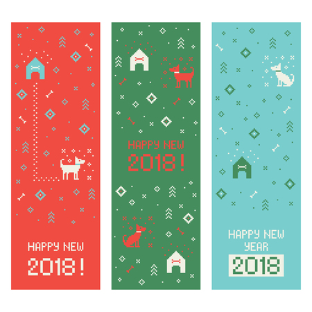 Chinese happy new year 2018 cross stitch greeting internet banners set with dog. Pixel art
