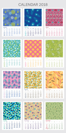 Calendar 2018 year illustrated with different pattern on each month. Starts on sunday