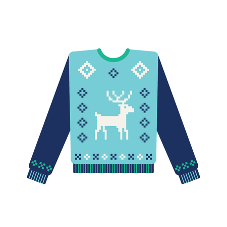 Christmas sweater with knitted deer pattern. Vector