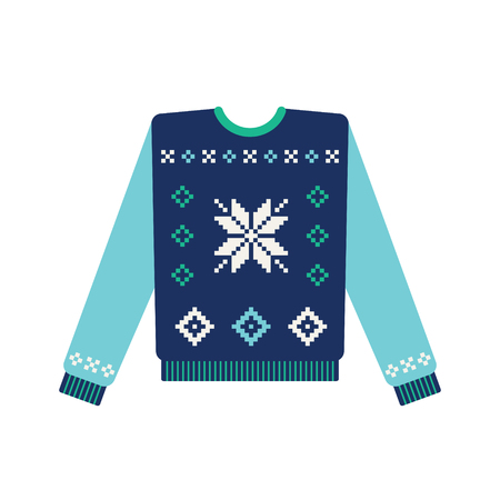 Christmas sweater with snowflake and winter star pattern. Vector Vettoriali