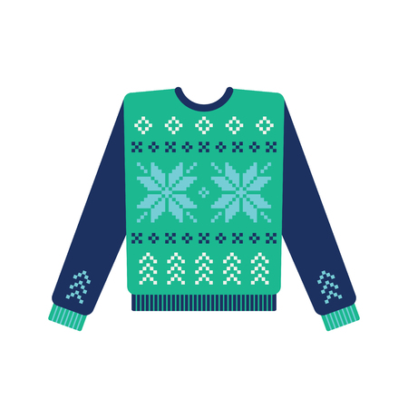 Ugly christmas sweater with knitted snowflake pattern. Vector