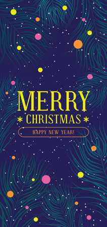 Merry christmas and happy new year banner with fir branches, snowflakes and confetti
