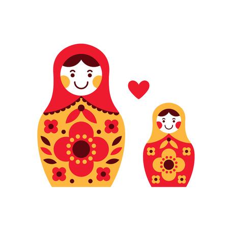 Matryoshka russian nesting dolls, two sizes with heart. Mother and daughter. Parenthood concept