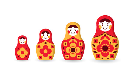 Set of matryoshka Russian nesting dolls of different sizes, souvenir from Russia