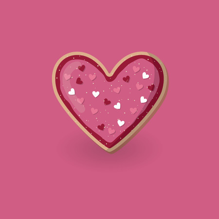 Heart shape cookie with decoration. Valentine day concept