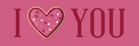 I love you banner with heart shape cookie. Valentine day Illustration