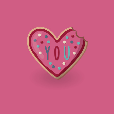 Heart shape bitten cookie with word you on top. Valentine day card