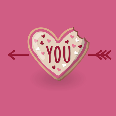 Heart shape bitten cookie with word you on top and arrow. Valentine day card. Concept of love