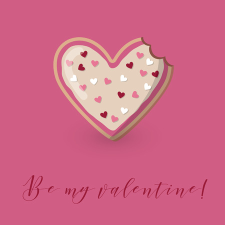 Be my valentine card with heart shape decorated bitten cookie. Illustration
