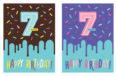 Birthday greeting card with dripping glaze on decorated cake and number 7 celebration candle