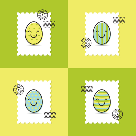 Set of postage stamp with easter painted egg smiley happy easter set of postage stamp with easter painted egg smiley happy easter greeting cards stock vector m4hsunfo