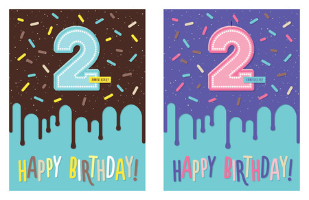 Birthday greeting card with dripping glaze on decorated cake and number 2 celebration candle. Second anniversary. Boy and girl variation