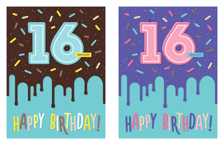 Birthday greeting card with dripping glaze on decorated cake and number 16 celebration candle Stock Illustratie
