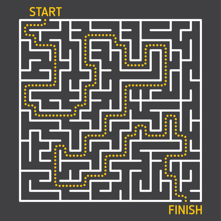 labyrinth maze game with solution path from start to finish