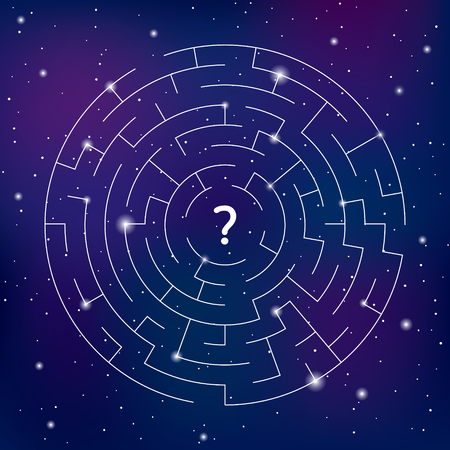 Round labyrinth with question sign on space background, find your way. Concept of universe. Maze game
