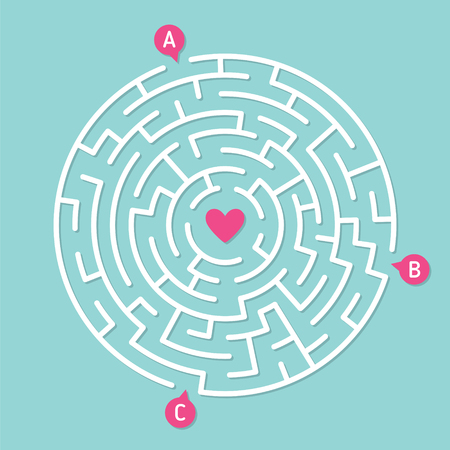 Round labyrinth maze game, find your path to heart. Concept of love Stock Photo