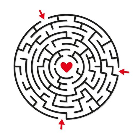 Round labyrinth maze game, find your path to heart. Concept of love Zdjęcie Seryjne
