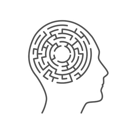 Labyrinth maze inside human head. Concept of thinking, knowledge and memory