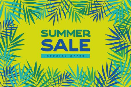 Summer sale banner with tropical exotic palm leaves. Summer sale poster design for print or web. Vector discount banner, discount template. Stock fotó