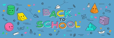 Back to school banner, poster with student supplies. Education, learning concept