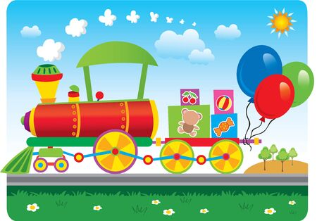 Vector colorful train, sunny weather, with balloons. Stock Illustratie