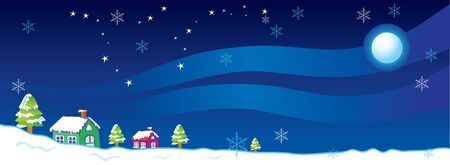 Vector illustration houses and trees in winter at night. Ilustracja