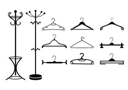 Clothes hangers icon set. Vector illustration Standard-Bild - 134740010