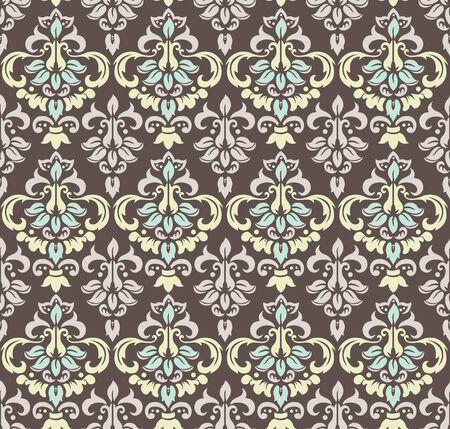 Damask seamless floral background pattern. Vector illustration Standard-Bild - 134740025