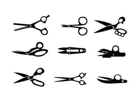 Set di forbici nere. Illustrazione vettoriale
