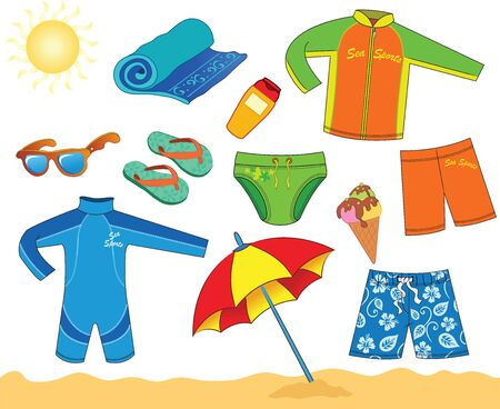 Beach Accessories For Boy. Vector illustration