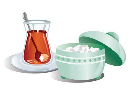 Turkish tea in glass. Vector illustration