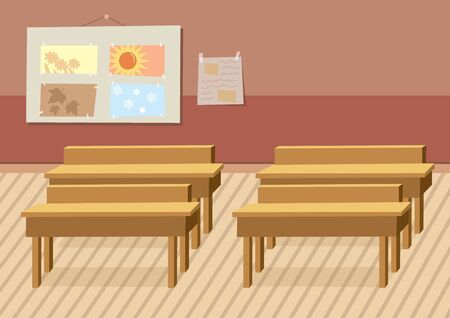 Vector illustration of school, lesson class, wooden chairs and four seasons. Spring, summer, autumn and winter.