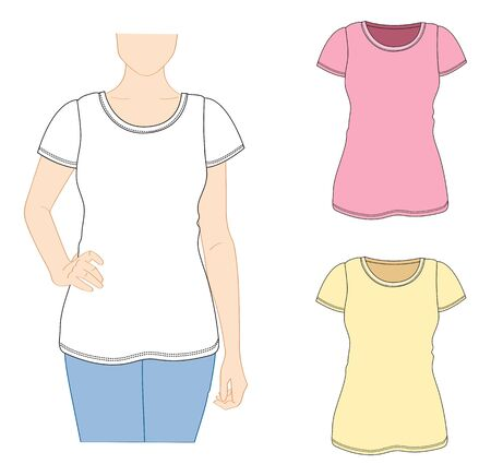 Vector woman T-shirt design template. Short sleeved. 矢量图片