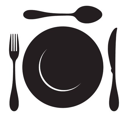 Insieme dell'icona di forchetta, cucchiaio, coltello e piatto per la cena. Vector, design piatto Vettoriali