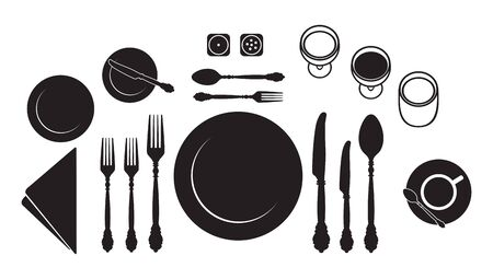 Formal dining table setting with fully equipped utensil are decorated in modern style. Dinner plate, spoon, fork, knife, cup, glasses and dessert service isolated on white