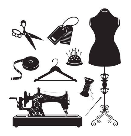 Tailor and garment industry icon set. Mannequin, scissors, tape measure, hanger, needle, thread, label. Vector illustration. Illustration