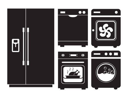 Vector icon silhouette of home appliances, refrigerator, dishwasher, washing machine, oven.  Illusztráció