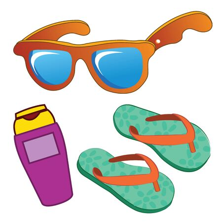 Summer beach holiday set vector illustration.