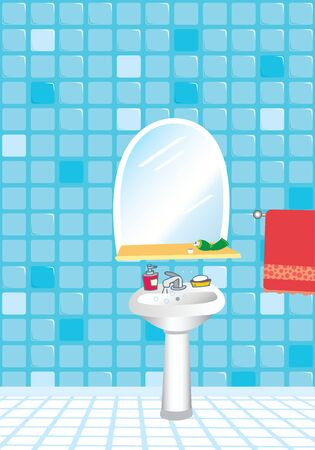 A bathroom interior, vector cartoon illustration