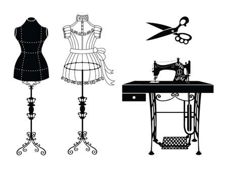 Vector tailor icons set with sewing and knitting tools and accessories. Black and white silhouette. Tailor shop and sewing tool icons. Flat design concepts for sewing dress, vintage mannequin, sewing machine, tailor scissor.