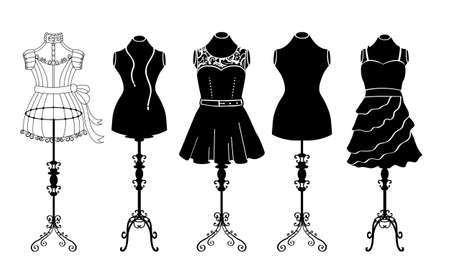 Fashion mannequins set, sewing studios, boutiques, flat vector set. Black and white tailor and designer collection