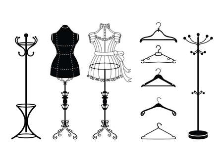 Vector tailor icons set with sewing and knitting tools and accessories. Black and white silhouette. Tailor shop and sewing tool icons. Flat design concepts for sewing dress, vintage mannequins and dress hangers. Vector Illustration