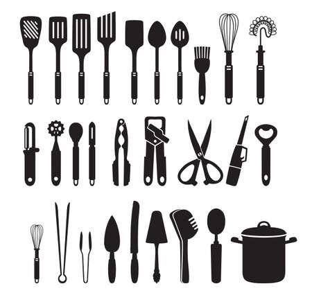 Kitchen appliances, electronics, black vector icon silhouettes. Kitchen tools Ilustração Vetorial