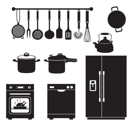 Kitchen equipment silhouette icons set. Kitchen Utensil Tool Equipment Interior Design Black Silhouette. Refrigerator, dishwasher, oven, saucepan, pressure cooker, spoon, ladle, strainer, pan and whisk silhouette.