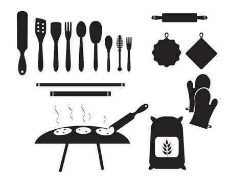Kitchen tools, flour, dough, black vector icon silhouettes, set. Turkish tradition.
